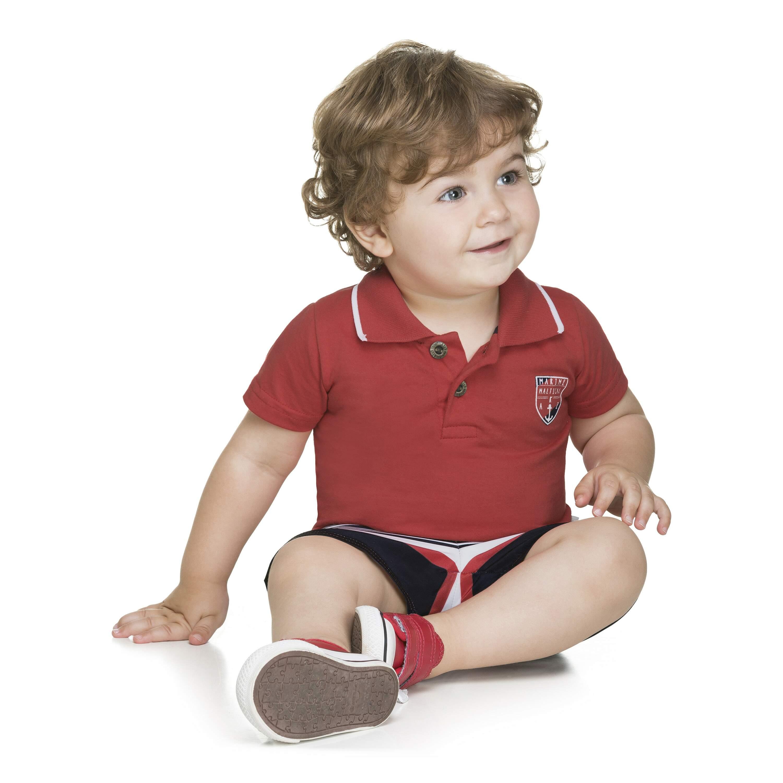 3279987654 Conjunto Camisa Polo e Bermuda Vermelho Alakazoo Megakids