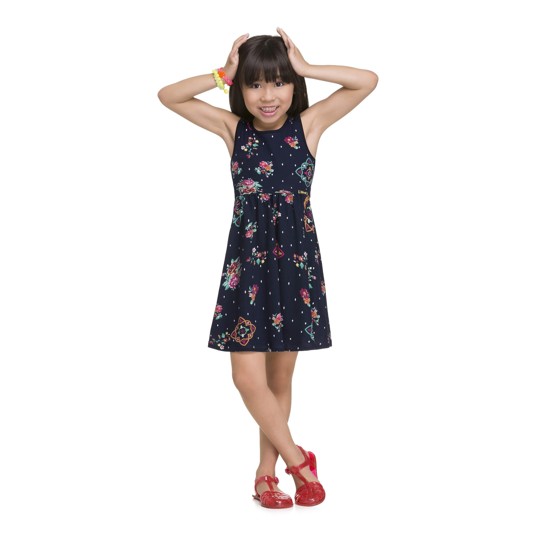 0e3f1d617 Vestido Evasê Malha Floral Marinho Alakazoo Megakids