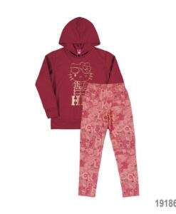 Conjunto Blusão Moleton e Legging em Cotton-Hello Kitty-MegaKIDS